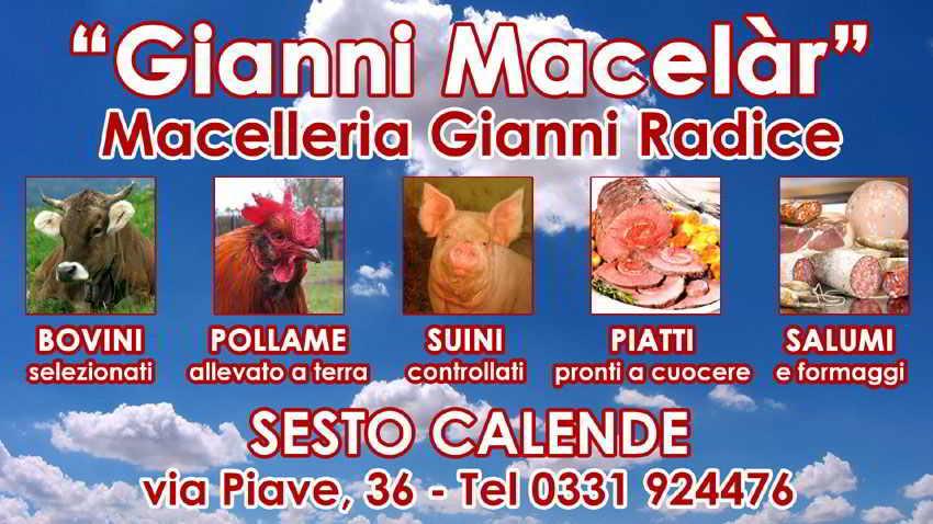 insegna storica macelleria e gastronomia Gianni Macelàr Sesto Calende
