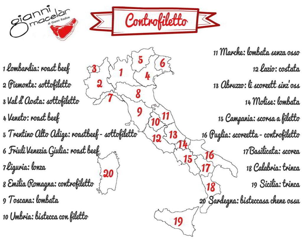 Nomi taglio carne controfiletto nelle regioni Italiane