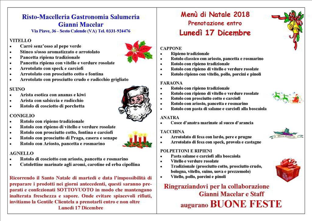 Consigli Per Menu Di Natale.Menu Gastronomico Di Natale 2018 Il Gianni Macelar A Casa Tua